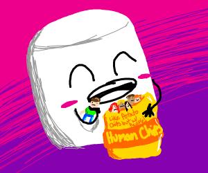 Marshmellow eating people like potato chips