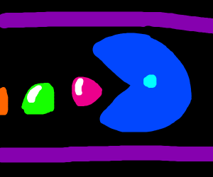 Blue!Pacman tries to eat gumdrop buttons