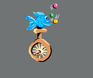 fish juggles on a unicycle