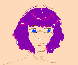 Girl with purple hair and freckles