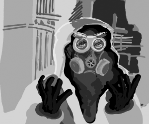 Guy in radiation suit.Gas mask with 2 filters