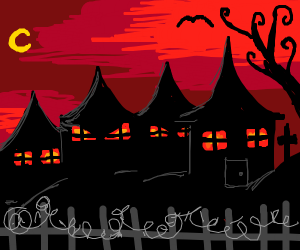 Spooky town pointy houses