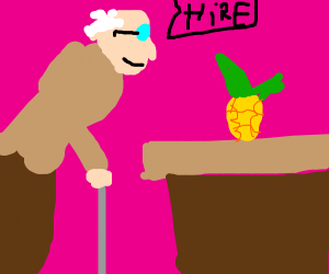a old timey guy hires a pineapple to work