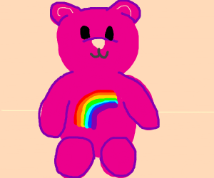 pink bear with rainbow on his stomach