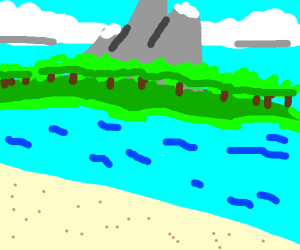 Sandy beach with mountains