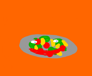 A colorful salad on a grey plate with a smile
