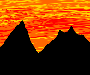 two mountains and a sunset