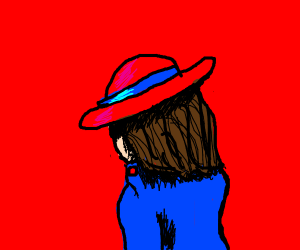 Fancy brunette w/ red hat has her back to you