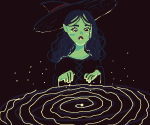 Witch sees a wiggly spiral