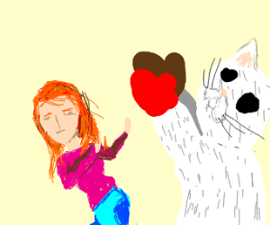red head girl gets attacked by cat mittens