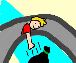 someone on bridge throws trash