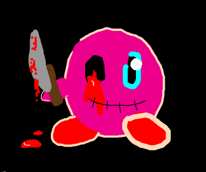 One-eyed Kirby holds bloody knife