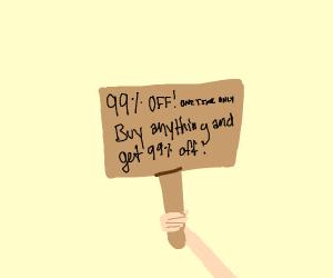99 percent off sale