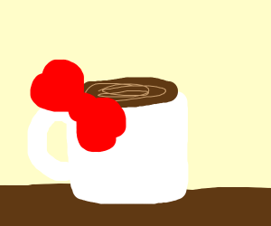 Coffee with a bow on it