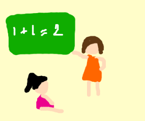 aldult teaching math to little girl