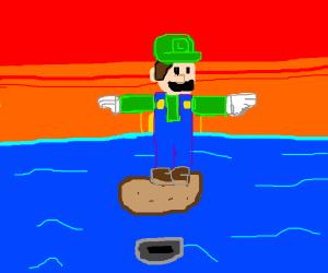 Luigi in the sea with a potato