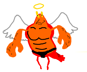 larry the lobster but he's an angel
