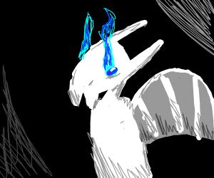 Weird white dragon thing w/ blue eyes