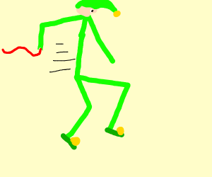 Elf running with a Ribbon