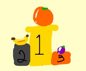 Orange wins 1st place, banana 2nd, grape 3rd