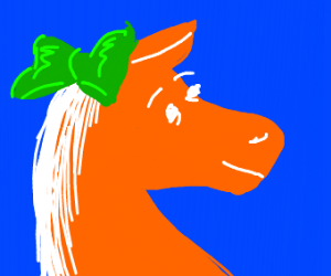 Gift horse, horses head is gift wrapped
