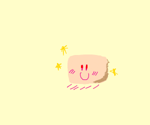 A happy, cute pink cube