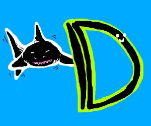 "shark behind the letter ""D"""