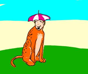 Human/cheetah fusion with umbrella on head