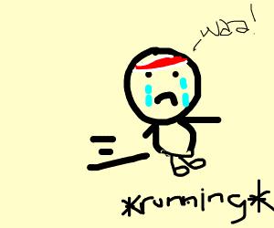 athlete cries while running away
