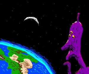 An alien in space looking down on earth