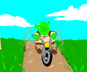 shrek riding a bike