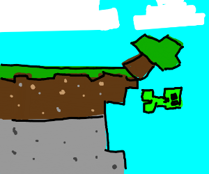creeper and tree fall off cliff