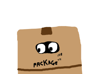 Man hiding inside a box