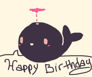Cute whale wishing you happy birthday
