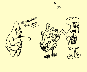 that scene from nemo but with sponge bob