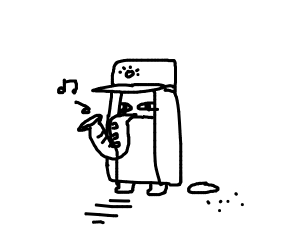 Guy with saxophone and a rock