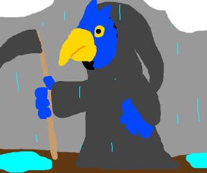 Grim Reaper Bird in the rain