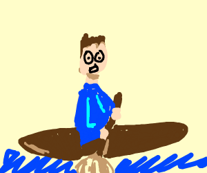 A man rows a boat using a mop.