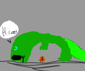 A dinosaur playing baseball saying hi