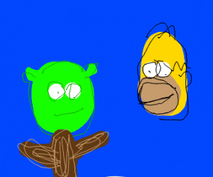 Shrek but most of his body is wood and Homer