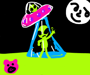 alien abducting a cow