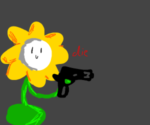 living sunflower aims on a person