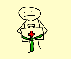 guy holdin first aid kit with a green tie