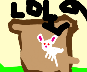 a rabbit on a piece of toast in a field