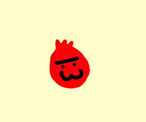 a pomegranite with a monobrow and :3 face