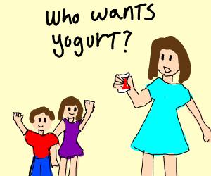 Mom asking children if they want yogurt