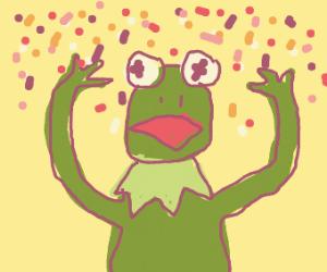 Kermit throws confetti!
