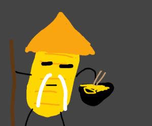 Potato chip sensei eating noodles