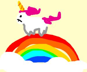 a unicorn on top of a rainbow