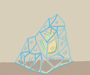 a pear in an ice mountain